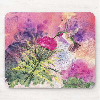 Hummingbird Purple Thistle Art Print Mousepad