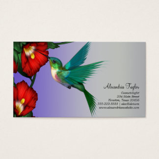 Hummingbird Red Hibiscus Teal Blue Purple Business Card
