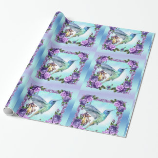 """Hummingbird & Rose Glossy Wrapping Paper, 30"""" x 6' Wrapping Paper"""