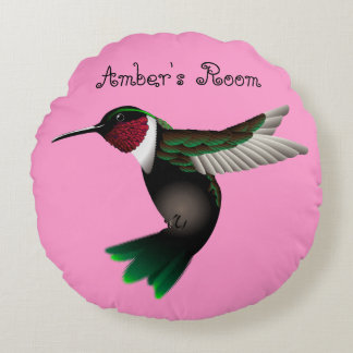 Hummingbird round accent pillow