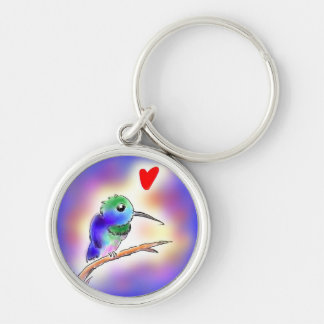 Hummingbird Silver-Colored Round Keychain