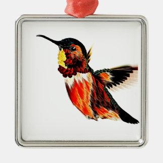 Hummingbird Silver-Colored Square Ornament