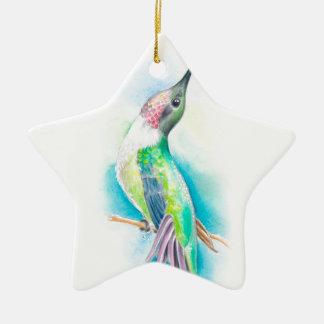 Hummingbird Singing Ceramic Star Ornament