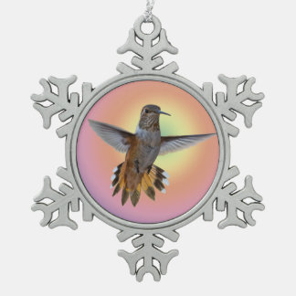 HUMMINGBIRD SNOWFLAKE PEWTER CHRISTMAS ORNAMENT
