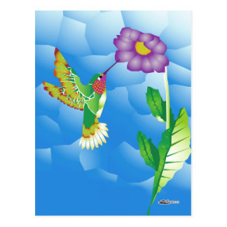 Hummingbird:  Stylized Postcard