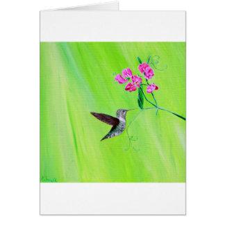Hummingbird & Sweet Peas Card