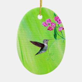 Hummingbird & Sweet Peas Ceramic Ornament
