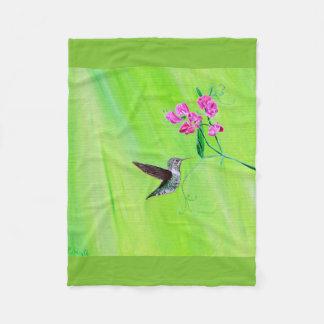 Hummingbird & Sweet Peas Fleece Blanket