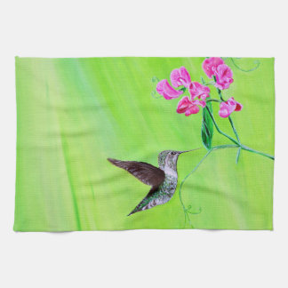 Hummingbird & Sweet Peas Kitchen Towel