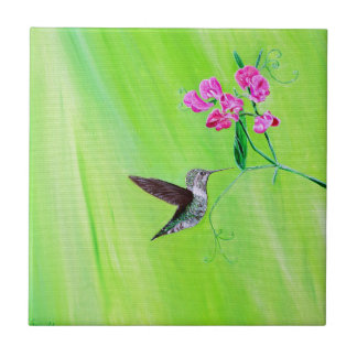Hummingbird & Sweet Peas Tile