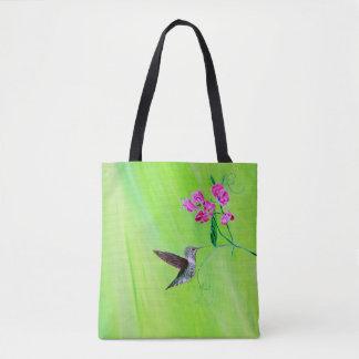 Hummingbird & Sweet Peas Tote Bag