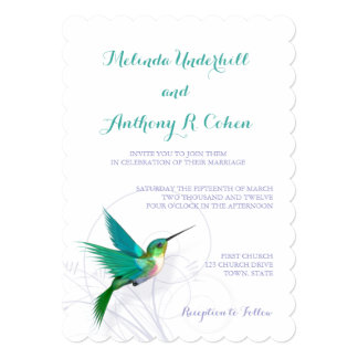 Hummingbird Swirl 5x7 Wedding Invitation