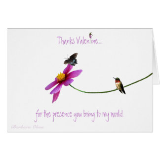 """Hummingbird: Thanks for your """"presence"""" Valentine. Card"""