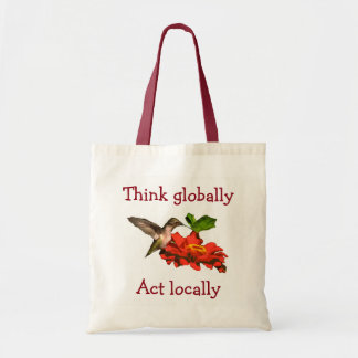 Hummingbird  Think Globally Act Locally Red