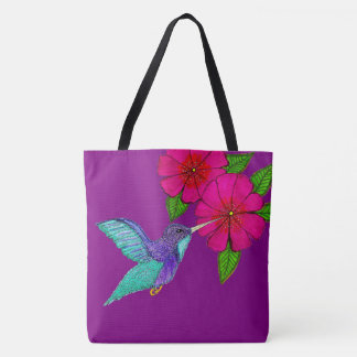 Hummingbird Tote Bag Fuschia and Purple
