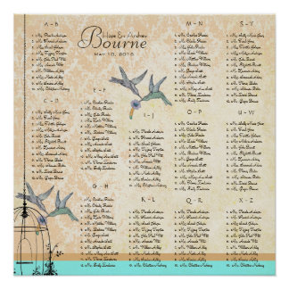 Hummingbird Vintage Love Birds Seating Charts