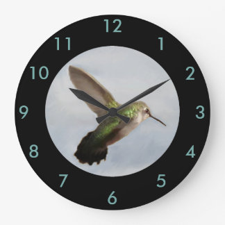 Hummingbird Wall Clock-Home Decor-Blue/Black Large Clock