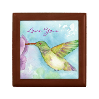 Hummingbird Watercolor Nature Art Love You Gift Box