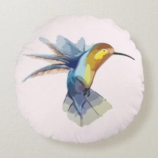 hummingbird watercolor peaceful beautiful drawing round pillow