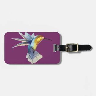 hummingbird watercolor peaceful sketch luggage tag