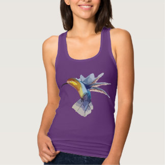 hummingbird watercolor yoga peaceful beautiful tank top