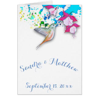Hummingbird Wedding Thank You Note Card