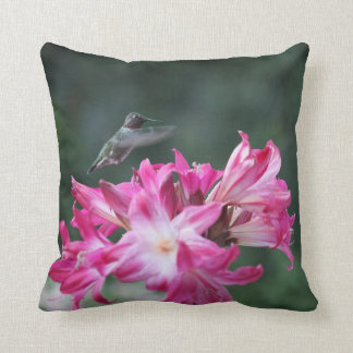 Hummingbird with belladonna lilies throw pillow