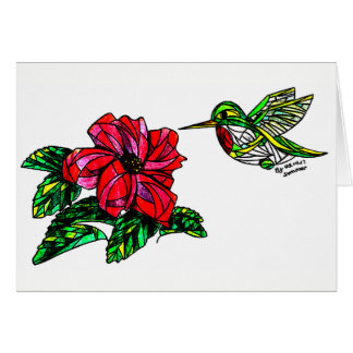 Hummingbird with hibiscus blank note cards. card