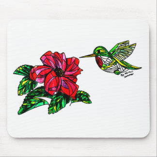 Hummingbird with hibiscus mouse pad