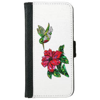 Hummingbird with hibiscus phone wallet