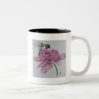 Hummingbird with Peony Two-Tone Coffee Mug