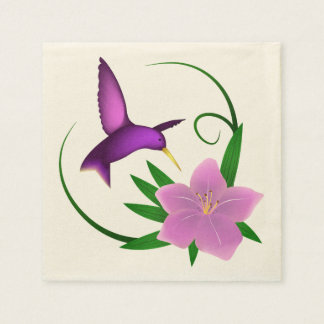 Hummingbird with pink flower disposable napkins