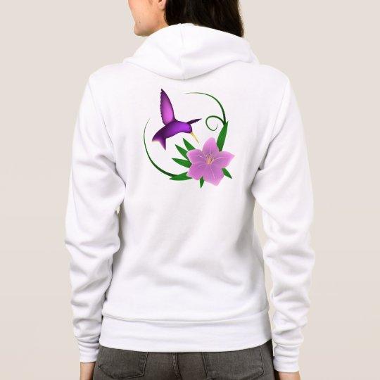 Hummingbird with pink flower name woman's hoodie
