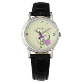 Hummingbird with pink flower name wristwatch