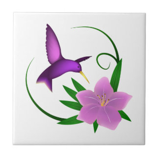 Hummingbird with pink flower tile