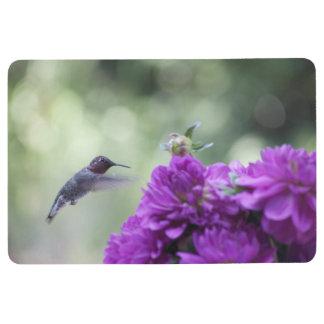 Hummingbird with purple dahlias floor mat