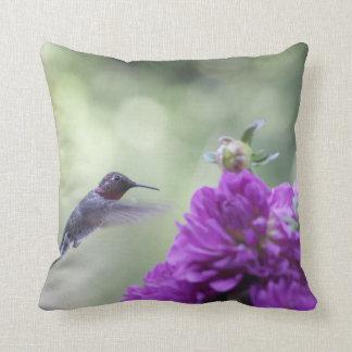 Hummingbird with purple dahlias throw pillow