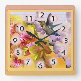 Hummingbird with Purple Lilacs and Yellow Orchids Square Wall Clock