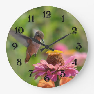 Hummingbird with Zinnia Flower Large Clock