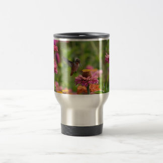 Hummingbird with Zinnias Travel Mug