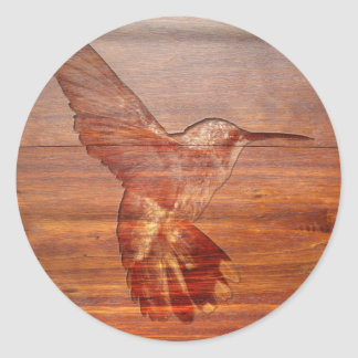 Hummingbird wood carving classic round sticker