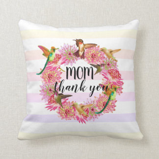Hummingbirds and Astrantia Flowers Wreath Throw Pillow