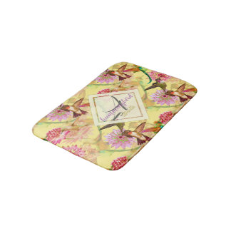 Hummingbirds and Astrantia Monogram Watercolor Bath Mat