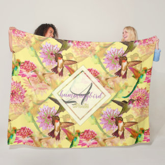 Hummingbirds and Astrantia Monogram Watercolor Fleece Blanket