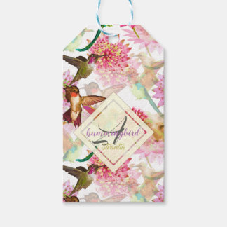 Hummingbirds and Astrantia Monogram Watercolor Gift Tags