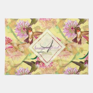 Hummingbirds and Astrantia Monogram Watercolor Kitchen Towel