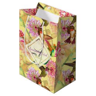 Hummingbirds and Astrantia Monogram Watercolor Medium Gift Bag