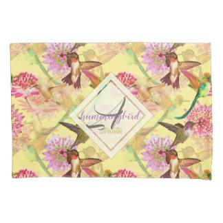 Hummingbirds and Astrantia Monogram Watercolor Pillowcase
