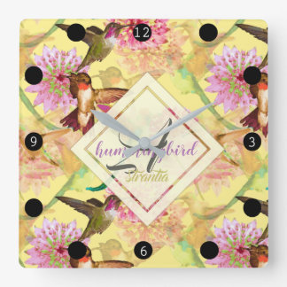 Hummingbirds and Astrantia Monogram Watercolor Square Wall Clock