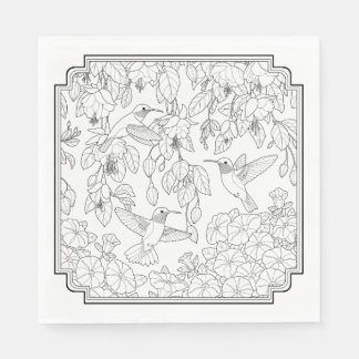 Hummingbirds and Flowers Adult Coloring Page Paper Napkins